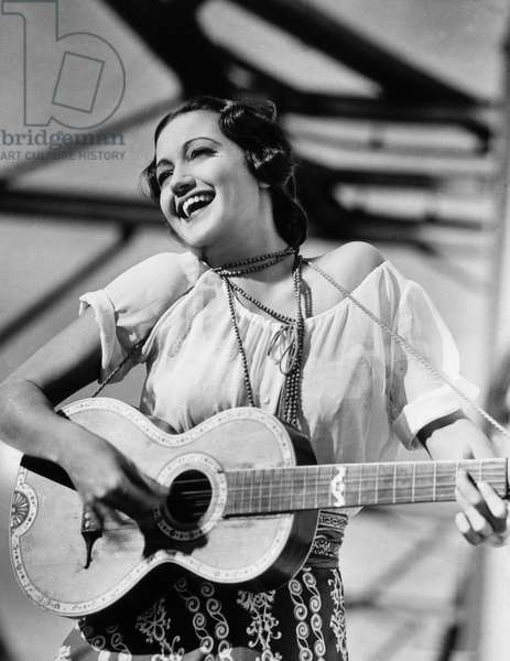 Dorothy Lamour, on set of the Film 'Road to Singapore', 1940 (b/w photo)