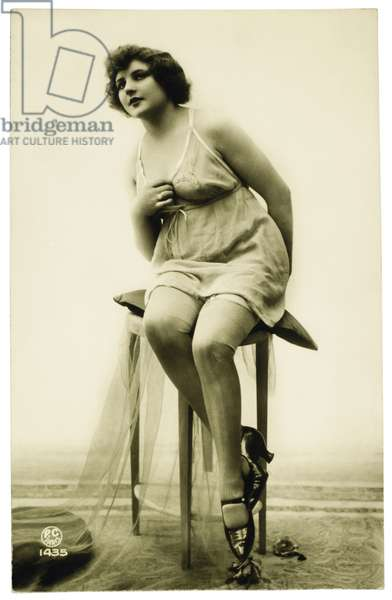 French Lingerie Model Sitting on Stool, Circa 1920