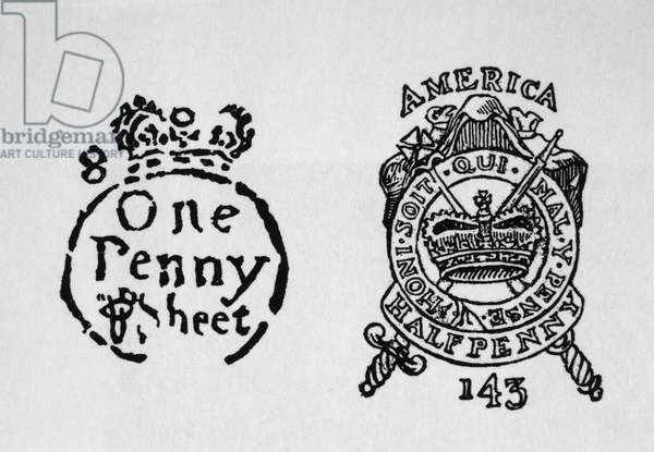 Tax Stamps for the American Colonies, Stamp Tax Act of 1765, Illustration