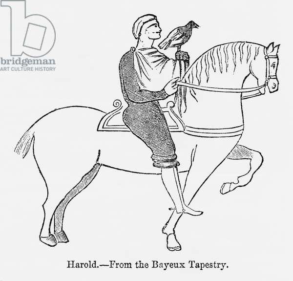 Harold, from the Bayeux Tapestry, Harold II Riding on Horse with Hawk Perched on his Hand, Illustration from John Cassell's Illustrated History of England, Vol. I from the earliest period to the reign of Edward the Fourth, Cassell, Petter and Galpin, 1857 (litho)