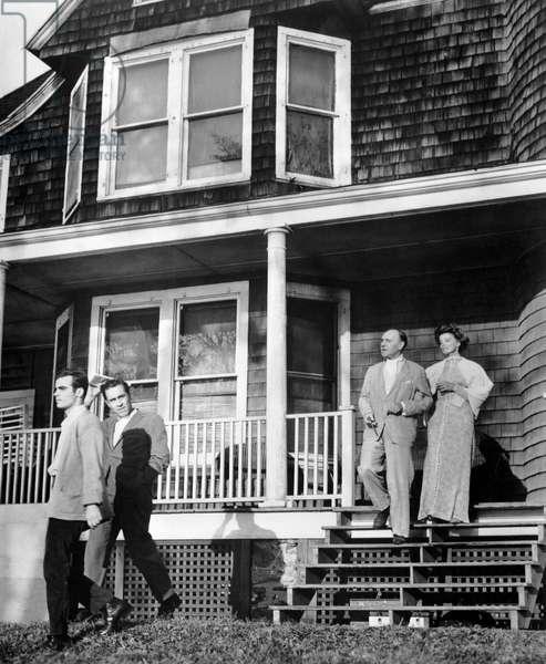 "Dean Stockwell, Jason Robards, Ralph Richardson, Katharine Hepburn, on-set of the Film, ""Long Day's Journey into Night"", 1962"