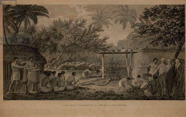 A Human Sacrifice, in a Morai, in Otaheite, 1784 Engraving by W. Woollett