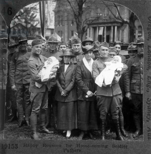 Homecoming Reunion for Soldier Fathers and Their Babies, Stereo Photograph