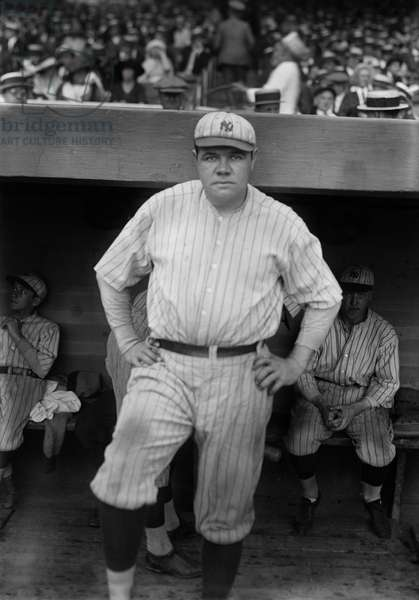 Babe Ruth, Major League Baseball Player, New York Yankees, Portrait Standing in Dugout, Bain News Service, 1921 (b/w photo)