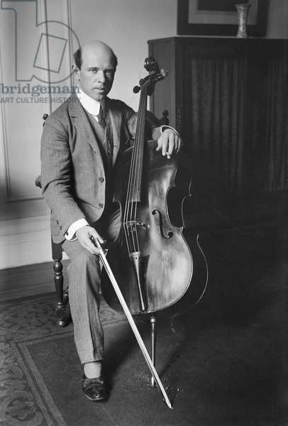 Pablo Casals, Spanish Cellist and Composer, Portrait at Carnegie Hall, New York City, New York, USA, Bain News Service, 1917 (b/w photo)
