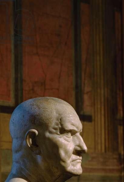Marble Bust of Roman Man, Metropolitan Museum of Art, New York City, New York, USA, July 1961