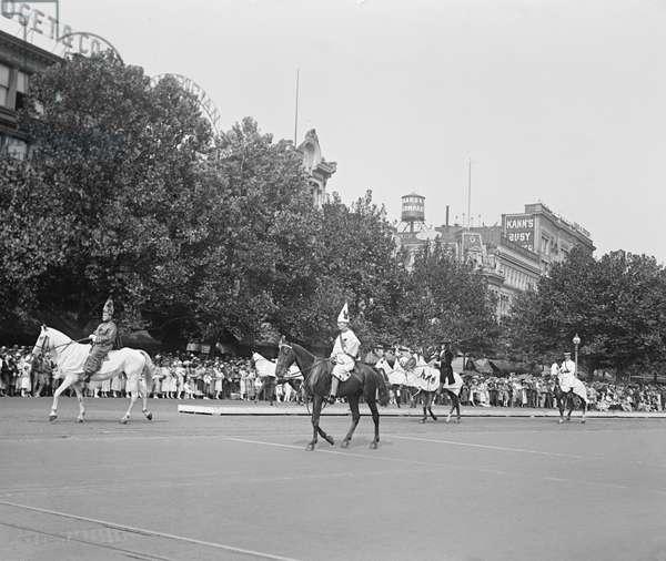 Ku Klux Klan Parade, Washington DC, USA, 1925 (b/w photo)