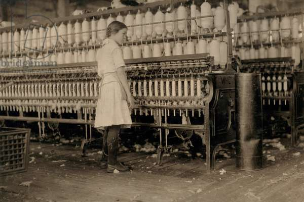 14-year-old Girl Working as Spinner at Cotton Mill, West, Texas, USA, circa 1913
