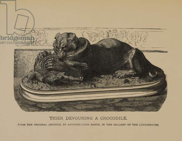 Tiger Devouring a Crocodile, from The Masterpieces of French Art by Louis Viardot, Published by Gravure Goupil et Cie, Paris, 1882, Gebbie & Co., Philadelphia, 1883 (woodcut engraving)