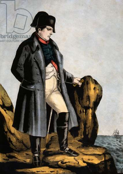 Napoleon Bonaparte (1769-1821) in Exile on St. Helena, Hand Colored Engraving