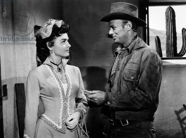 "Donna Reed, Richard Widmark, on-set of the Film ""Backlash"", 1956"