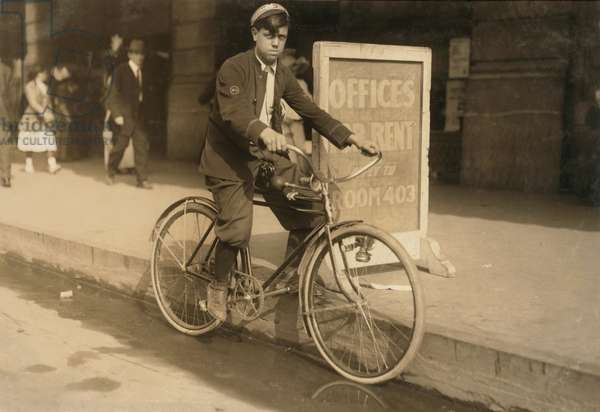 Messenger Boy on Bicycle, New Orleans, Louisiana, USA, circa 1913