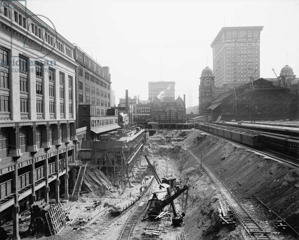 Excavation for Grand Central Terminal, New York City, USA, circa 1908