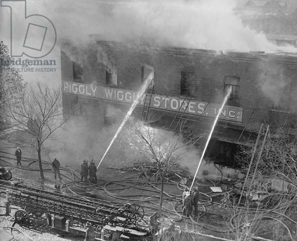 Firemen Battling Piggly Wiggly Store Fire, Washington DC, USA, 1923 (b/w photo)