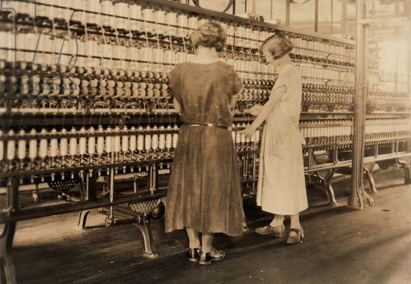 Two Teen Girls Working in Silk Mill, South Manchester, Connecticut, USA, circa 1924