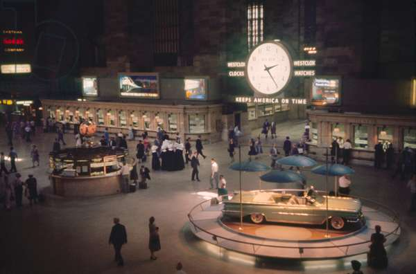 Grand Central Terminal, Main Concourse with Oldsmobile Convertible on Display, New York City, New York, USA, July 1961