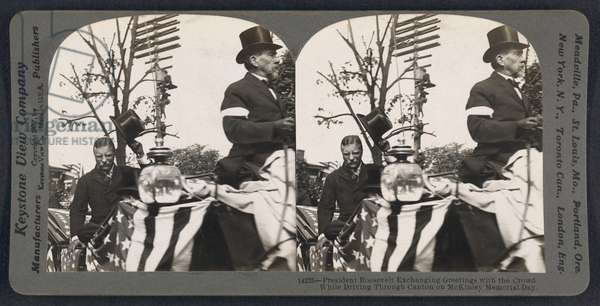 President Roosevelt Exchanging Greetings with the Crowd while driving through Canton on McKinley Memorial Day, Stereo Card, Keystone View Company, September 30, 1907 (b/w photo)