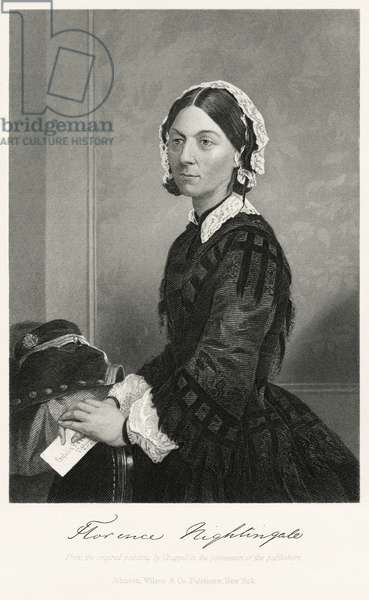 Florence Nightingale (1820-1910), English Nurse, Founder of Modern Nursing, Half-Length Portrait, Steel Engraving, Portrait Gallery of Eminent Men and Women of Europe and America by Evert A. Duyckinck, Published by Henry J. Johnson, Johnson, Wilson & Company, New York, 1873 (print)