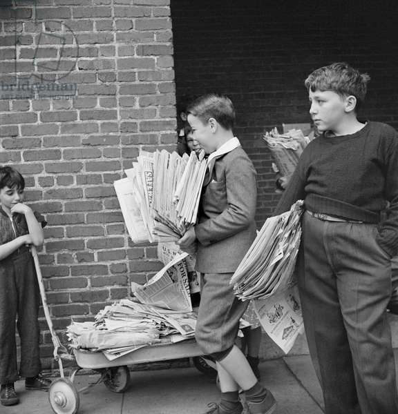 Boys Bringing Their Weekly Contribution of Scrap Paper to School during Scrap Salvage Campaign, Victory Program, Washington DC, USA, Marjorie Collins for Office of War Information, August 1942