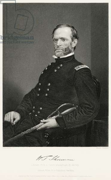 William Tecumseh Sherman (1820-1891), Union General During American Civil War, Seated Portrait, Steel Engraving, Portrait Gallery of Eminent Men and Women of Europe and America by Evert A. Duyckinck, Published by Henry J. Johnson, Johnson, Wilson & Company, New York, 1873 (print)