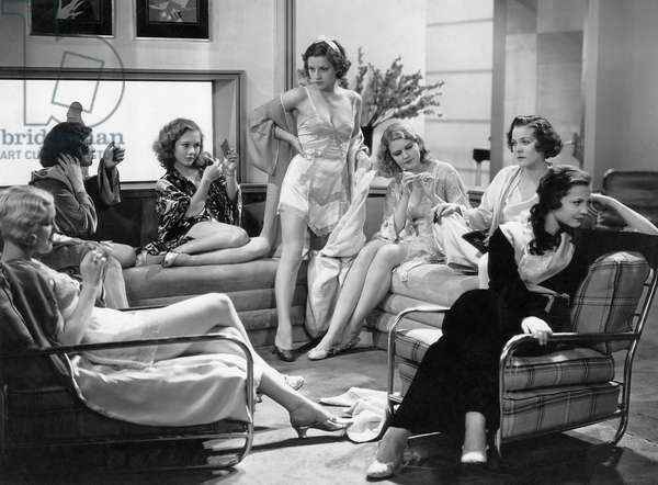 """Claudia Dell, (third from left), Florence Britton, (standing), Martha Sleeper, Sylvia Sidney, (right), on-set of the Film, """"Confessions of a Co-Ed"""", 1931"""