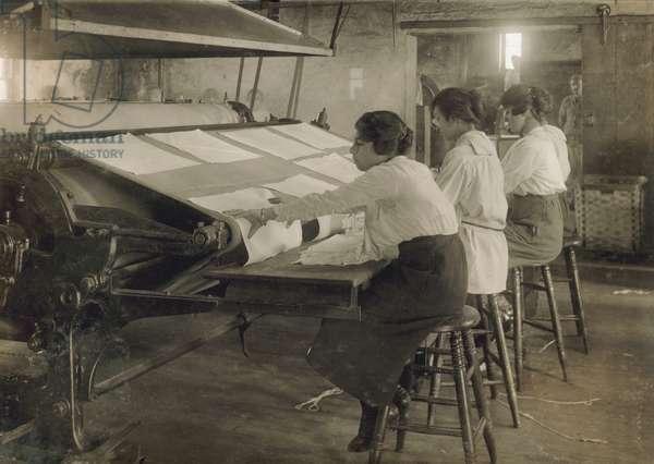 Three Young Teen Girls Working at Mangle at Bonanno Laundry, Boston, Massachusetts, USA, circa 1917