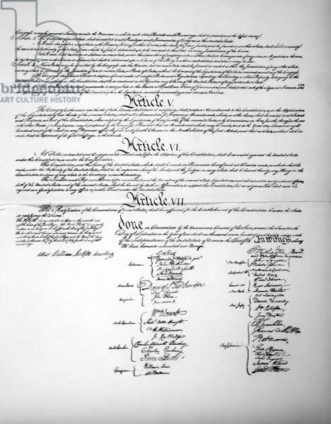 Signature Page of The Constitution of the United States, 1787