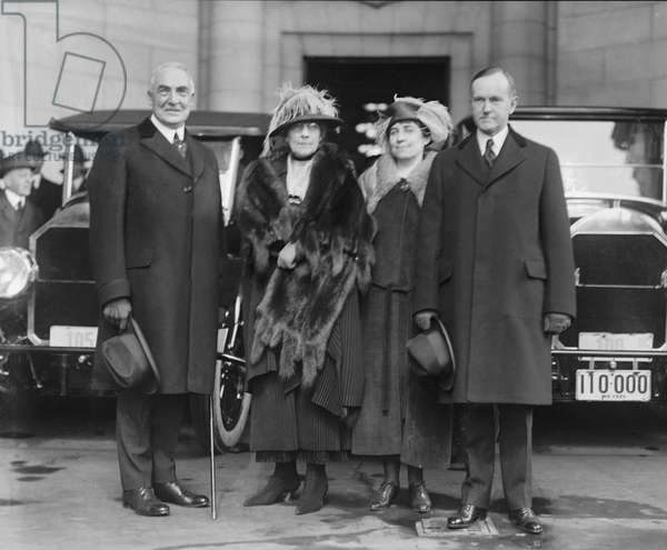 President-Elect Warren G. Harding, wife Florence Harding, Grace Coolidge, Vice President-Elect Calvin Coolidge, Portrait Arriving for Inauguration, Washington DC, USA, 1921 (b/w photo)