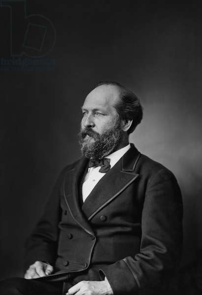 James A. Garfield (1831-81), 20th President of the United States, Three-Quarter Length Portrait, Brady-Handy Collection, 1870-80 (b/w photo)