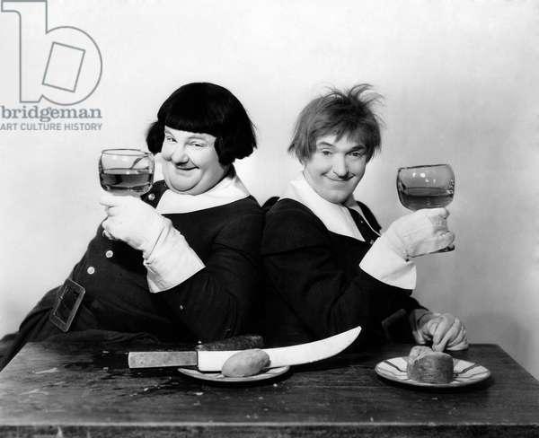 "Oliver Hardy, Stan Laurel, on-set of the Film, ""The Devil's Brother"", 1933"