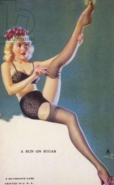A Run on Sugar, Mutoscope Card, 1940s (colour litho)
