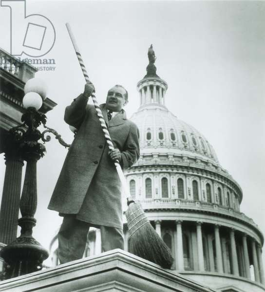 U.S. Senator Joseph McCarthy (1908-1957) in front of U.S. Capitol, Washington D.C., Poised to Sweep Communists out of Government, 1954