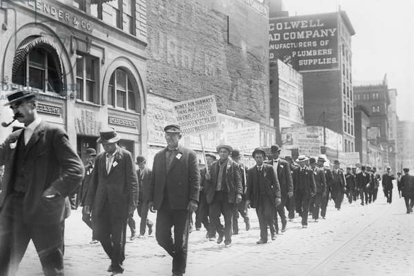 Parade of Unemployed Men Carrying Signs, New York City, New York, USA, Bain News Service, May 1909 (b/w photo)