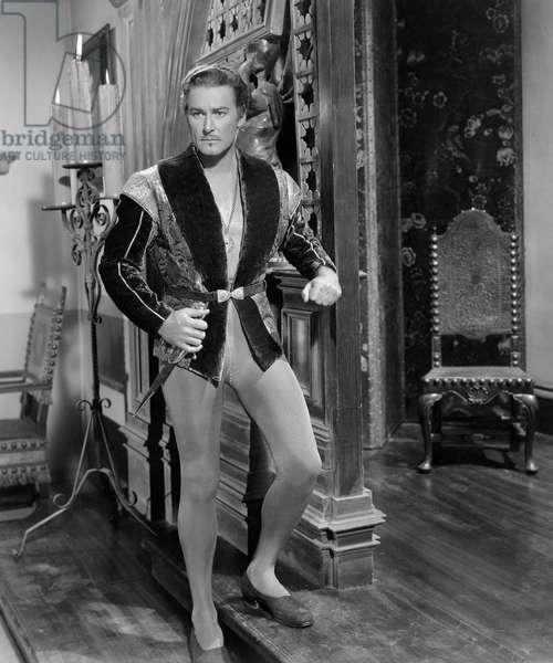 """Errol Flynn, on-set of the Film, """"Adventures of Don Juan"""", 1948"""