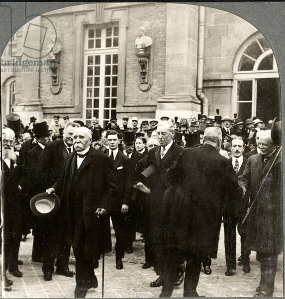 Georges Clemenceau, Woodrow Wilson, & David Lloyd George, Leaving Palace of Versailles during Peace Treaty, Single Image of Stereo Card, June 28, 1919