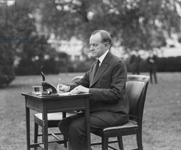U.S. President Calvin Coolidge Voting by Mail, White House Lawn, Washington DC, USA, 1924 (b/w photo)
