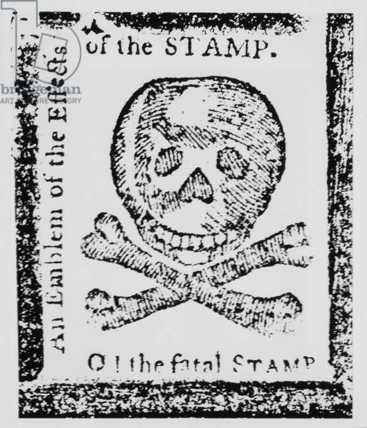 """O! The Fatal Stamp, Emblem of the Effects of the Stamp"", Colonial Response to the Stamp Act, Published in Pennsylvania Journal, 1765"