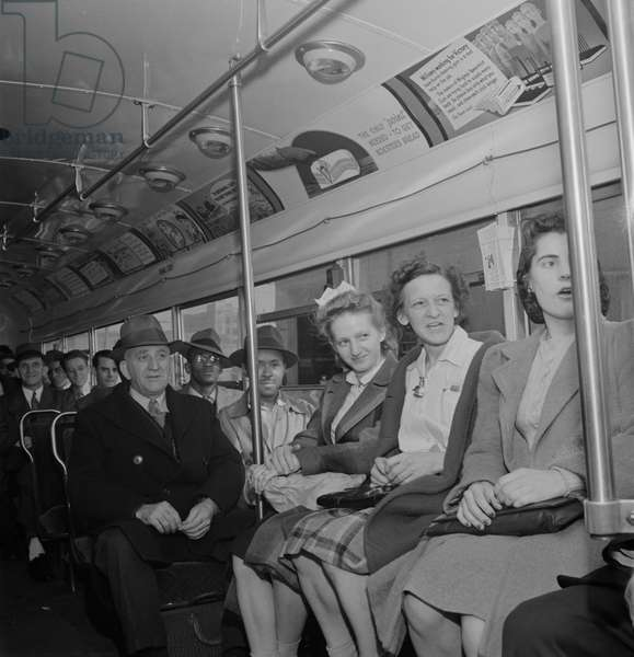 Passengers on Bus at 4pm, Baltimore, Maryland, USA, Marjorie Collins for Office of War Information, April 1943
