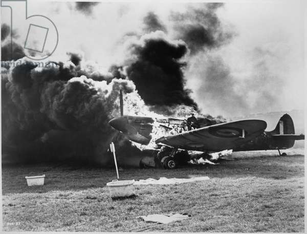 "Burning WWII Fighter Airplane from the Documentary Film, ""Battle of Britain"", 1969"