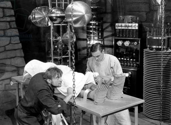 "Dwight Frye, Colin Clive, on-set of the Film, ""Frankenstein"", 1931"