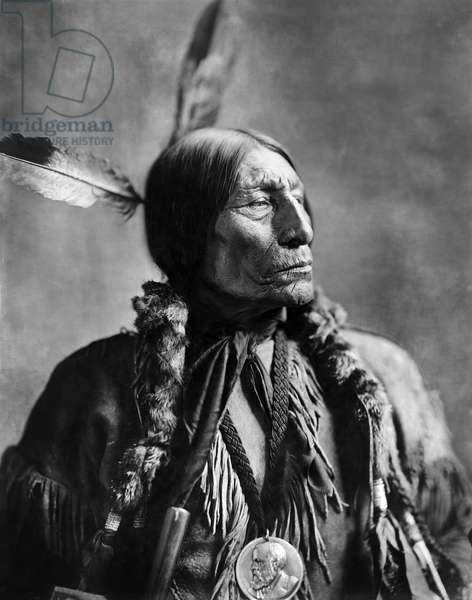 Wolf Robe, Southern Cheyenne Chief, Wearing a Benjamin Harrison Presidential Medallion, which he Received from the Federal Government in 1890 for Assisting the Cherokee Commission in Negotiations for Disposal of land, Head and Shoulders Portrait, Louisiana Purchase Exposition, St. Louis, Missouri, USA, 1904 (b/w photo)
