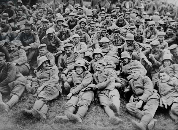 German Prisoners of War Captured by British Forces at Battle of Messines, West Flanders, Belgium, Bain News Service, June 1917 (b/w photo)