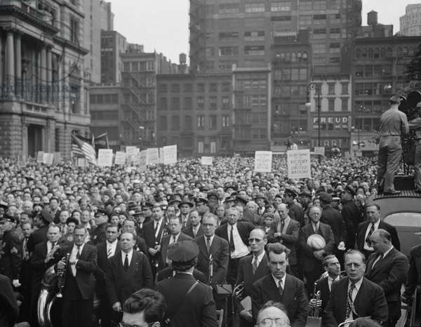 Crowd in Madison Square on D-Day, New York City, New York, USA, 1944 (b/w photo)