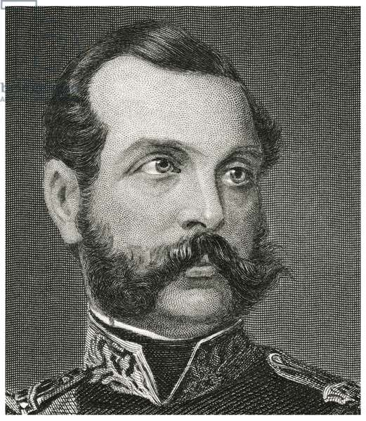 Alexander II (1818-81), Emperor of Russia 1855-81, Head and Shoulders Portrait, Steel Engraving, Portrait Gallery of Eminent Men and Women of Europe and America by Evert A. Duyckinck, Published by Henry J. Johnson, Johnson, Wilson & Company, New York, 1873 (print)