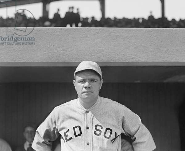 Babe Ruth, Major League Baseball Player, Boston Red Sox, Portrait, 1919 (b/w photo)