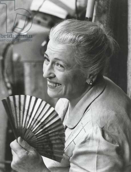 "Pearl S. Buck, on-set of the Film ""The Big Wave"", which is based on her Novel of the same Title, Japan, 1960 (b/w photo)"