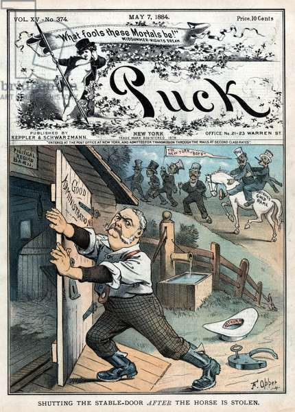 """""""Shutting the Stable-Door after the Horse is Stolen"""", Political Cartoon Featuring U.S. President Chester A. Arthur Closing a Door Labeled """"Good Administration"""" to a Stable Labeled """"Political Record Barn"""", 'Puck Magazine', published by Keppler & Schwarzmann, May 7, 1884 (litho)"""
