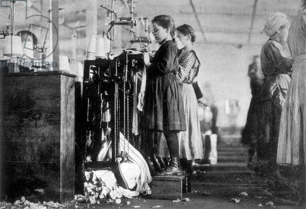 Young Girls Working in Loudon Hosiery Mill, USA, 1910 (b/w photo)