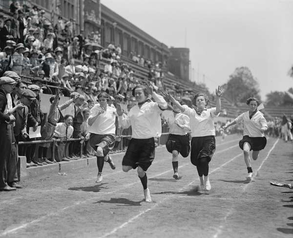 Girls Crossing Finish Line of Running Race, Washington DC, USA, 1924 (b/w photo)