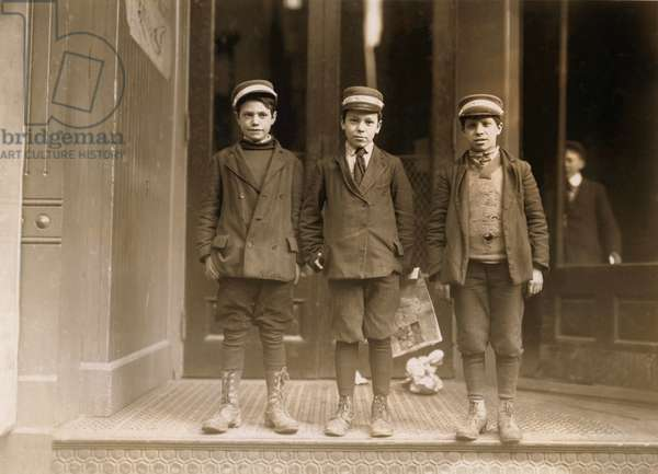 Portrait of Three Young Messenger Boys, New Haven, Connecticut, USA, circa 1909